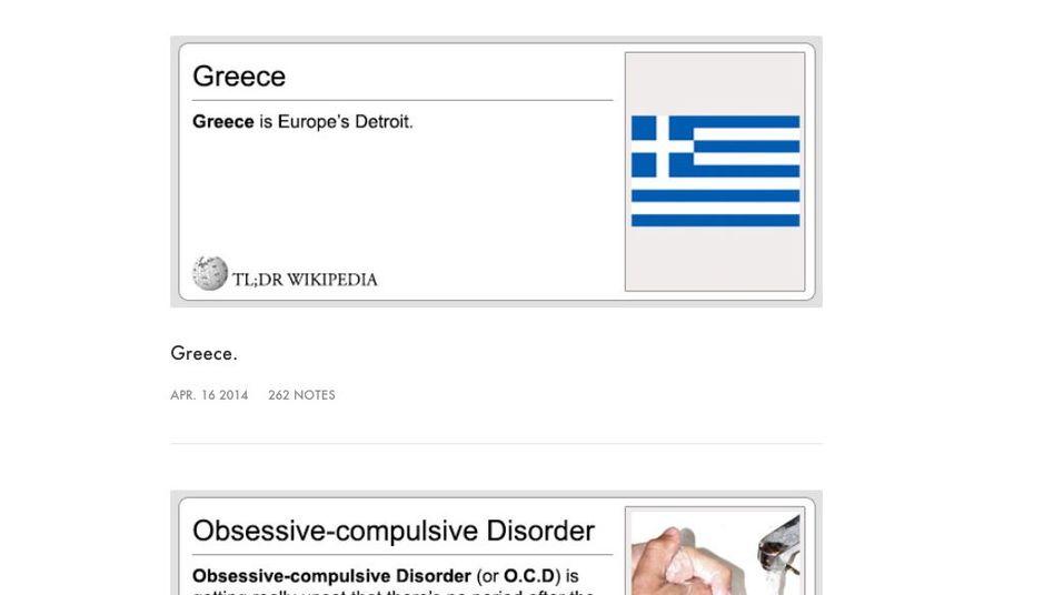 """Screenshot von """"TL;DR Wikipedia"""": Kurz und amüsant"""