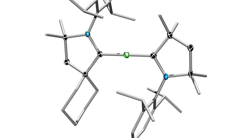 Beryllium (grün), umgeben von zwei stabilisierenden zyklischen Kohlenstoffgruppen