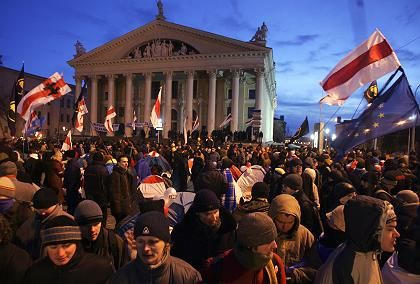 Supporters of Belarus' opposition leader Alexander Milinkevich at a rallyin central Minsk, Belarus, earlier on Tuesday.