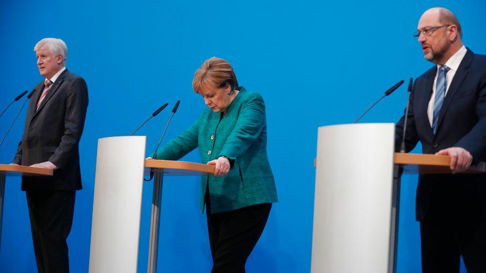 Chefverhandler Seehofer, Merkel, Schulz