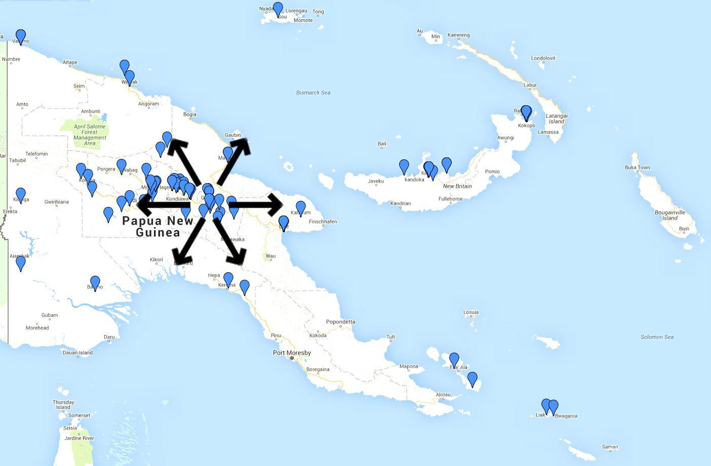 EINMALIGE VERWENDUNG Hebammen / Papua-Neuguinea/ Landkarte