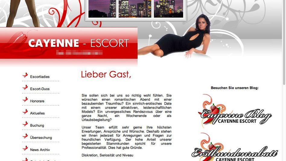 Webseite der Escort-Agentur (Screenshot): Vermittlung für romantische Stunden