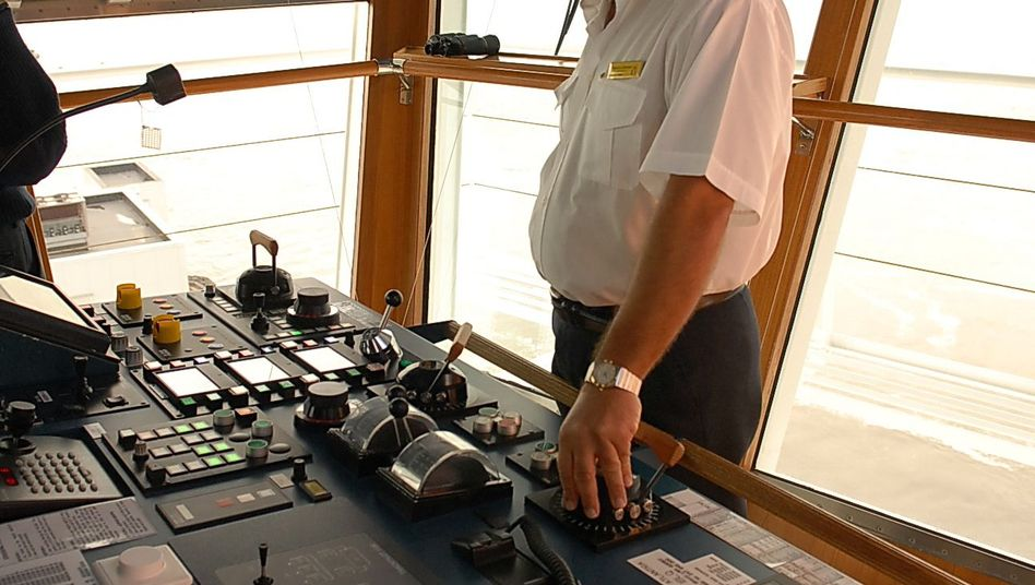 Captain Schettino in better days, on the Costa Atlantica approaching New York last April.