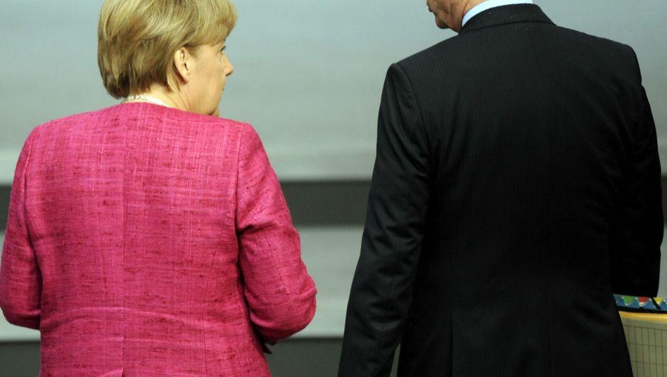 Koalitionäre Westerwelle, Merkel: Nichts sagen, nichts hören