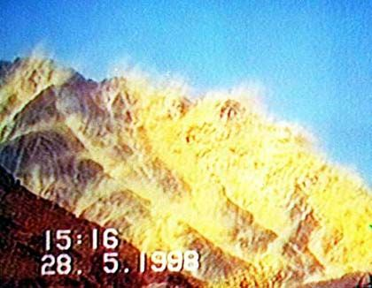 A television image of a nuclear weapons test in Pakistan.