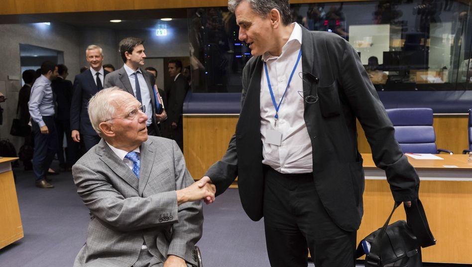 Finanzminister Schäuble (links) und Tsakalotos