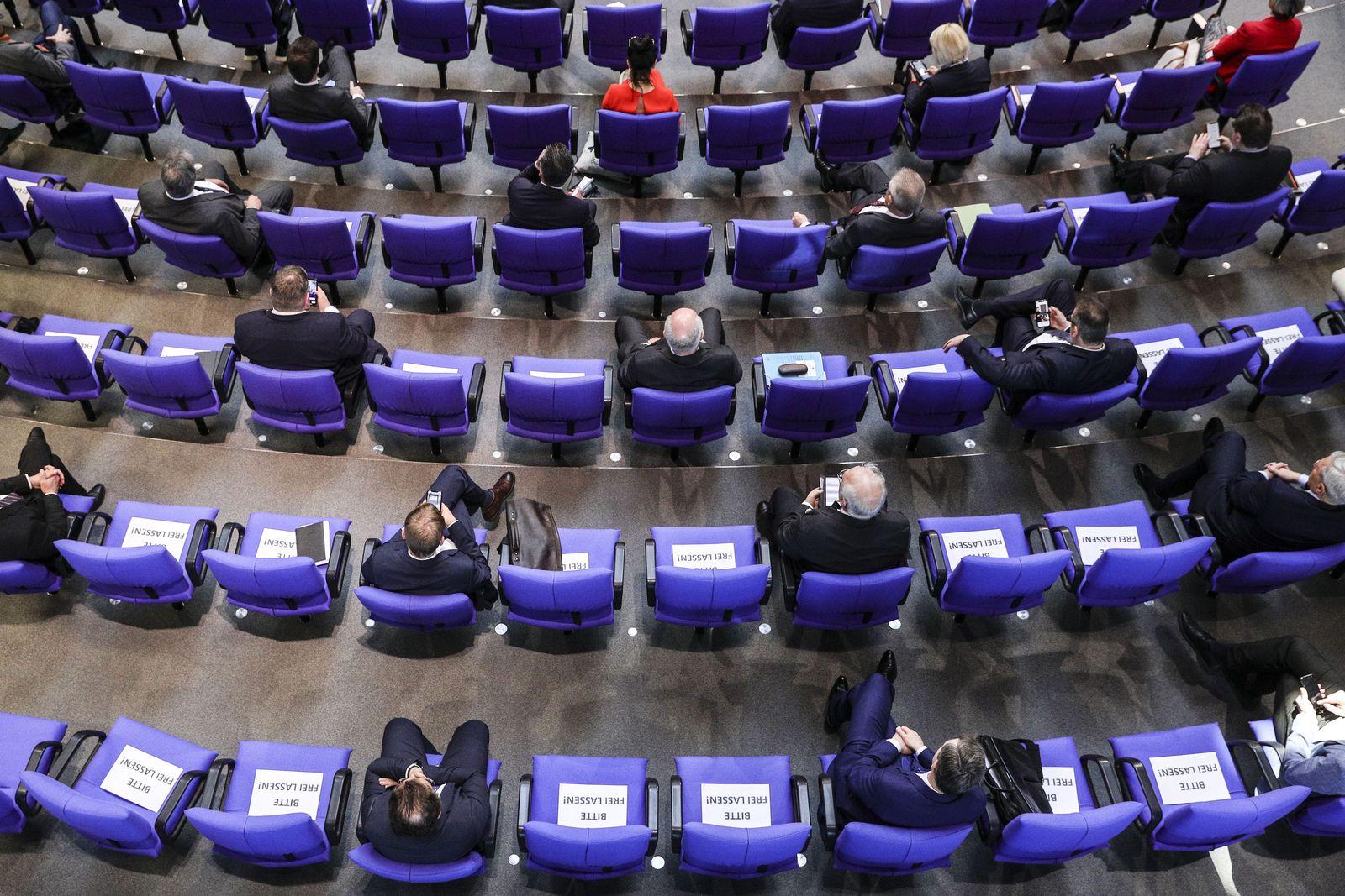 Germany Bundestag session sitting arrangement due to Coronavirus, Berlin - 25 Mar 2020