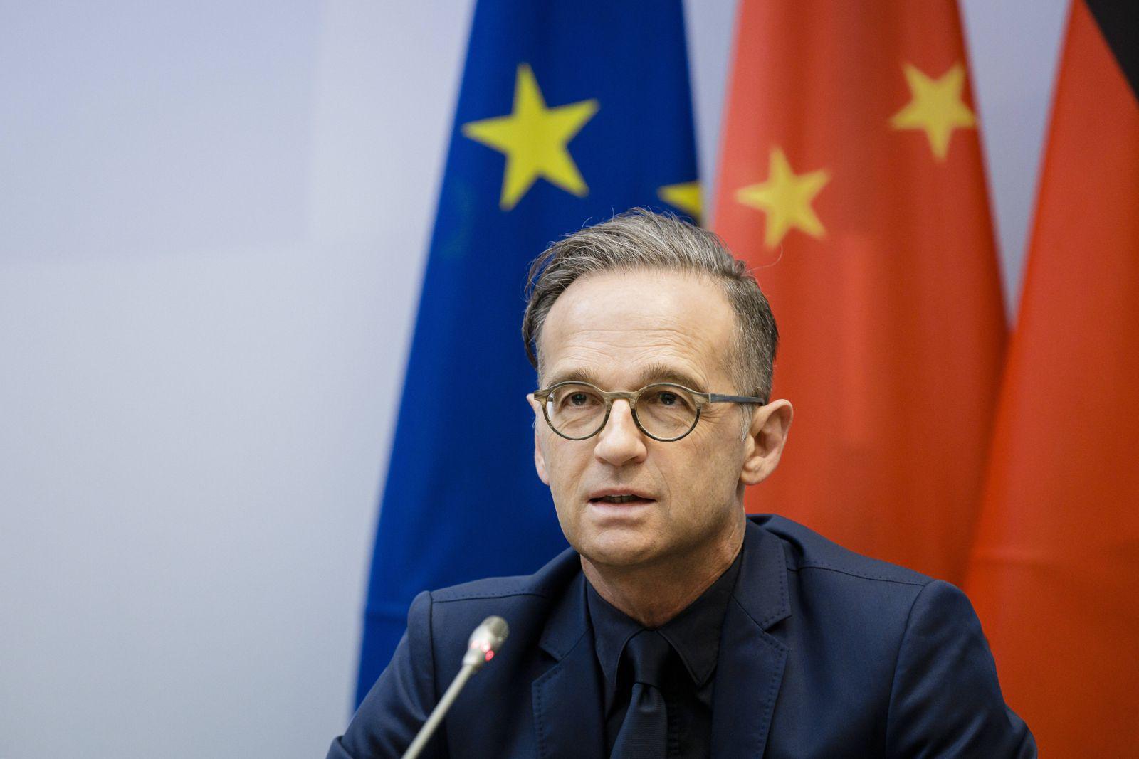 Bundesaussenminister Heiko Maas, SPD, aufgenommen im Rahmen einer Videokonferenz mit dem Chinesischen Aussenminister Wan