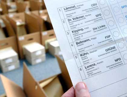 Bisheriger Stimmzettel im Dresdner Wahlkreis I: Jetzt soll Schönhuber antreten