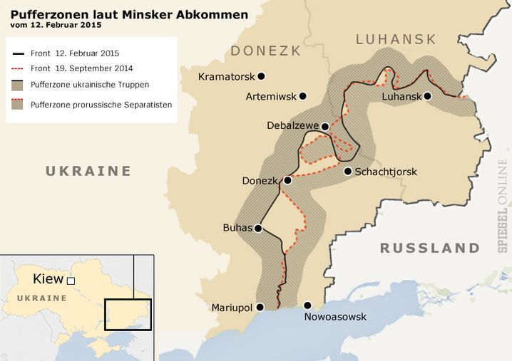 Pufferzone nach Minsker Abkommen zwischen ukrainischen Truppen und prorussischen Separatisten am 12.2.2015