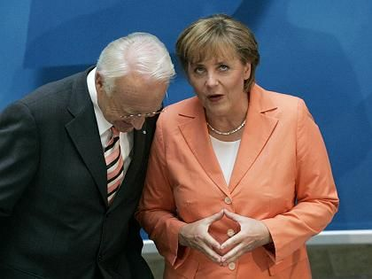 Once fierce competitors, Edmund Stoiber has put his support behind Angela Merkel.