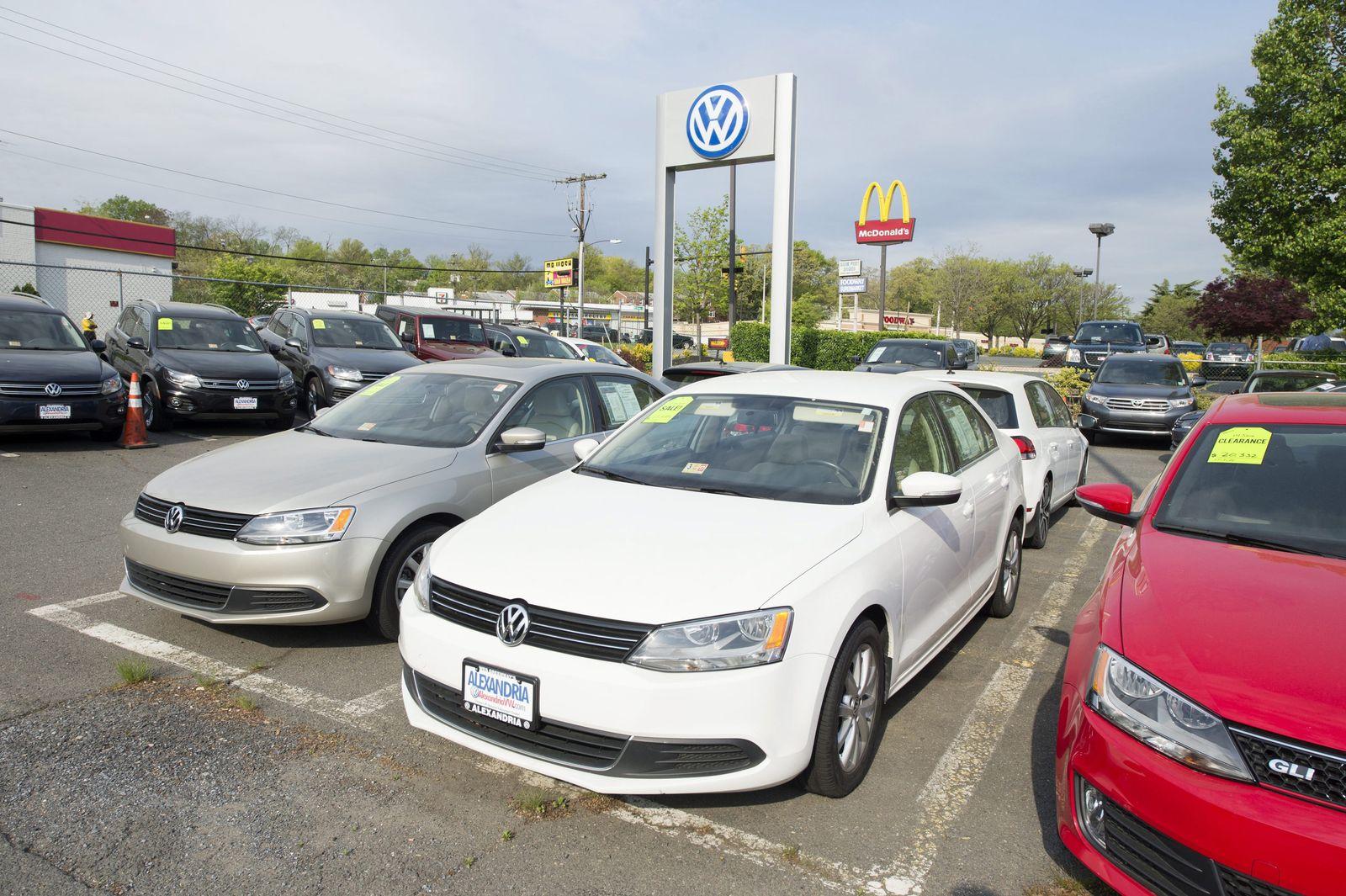 Volkswagen automobiles at a dealership in Alexandria, Virginia