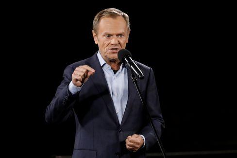 Oppositionsführer Donald Tusk auf der Kundgebung