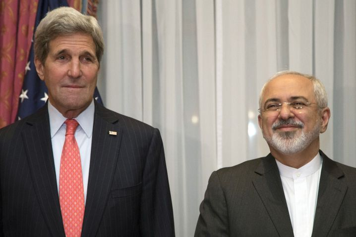 US Secretary of State John Kerry and Iranian Foreign Minister Mohammad Javad Zarif in Switzerland.