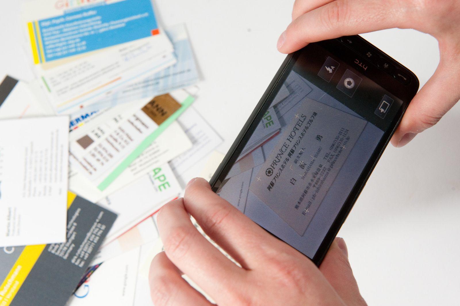 EINMALIGE VERWENDUNG Visitenkarten Scanner / Smartphone