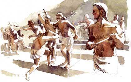 Stählung durch Peitschenhiebe: Knaben auf dem Weg zum Altar der Göttin Artemis Orthia