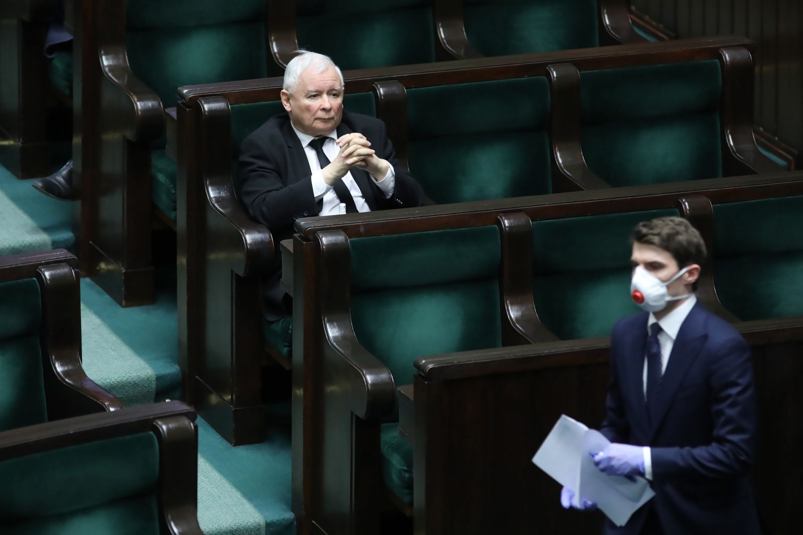 Parliamentary debate on the on changes to the statutes regarding the organisation in Sejm, Warsaw, Poland - 26 Mar 2020