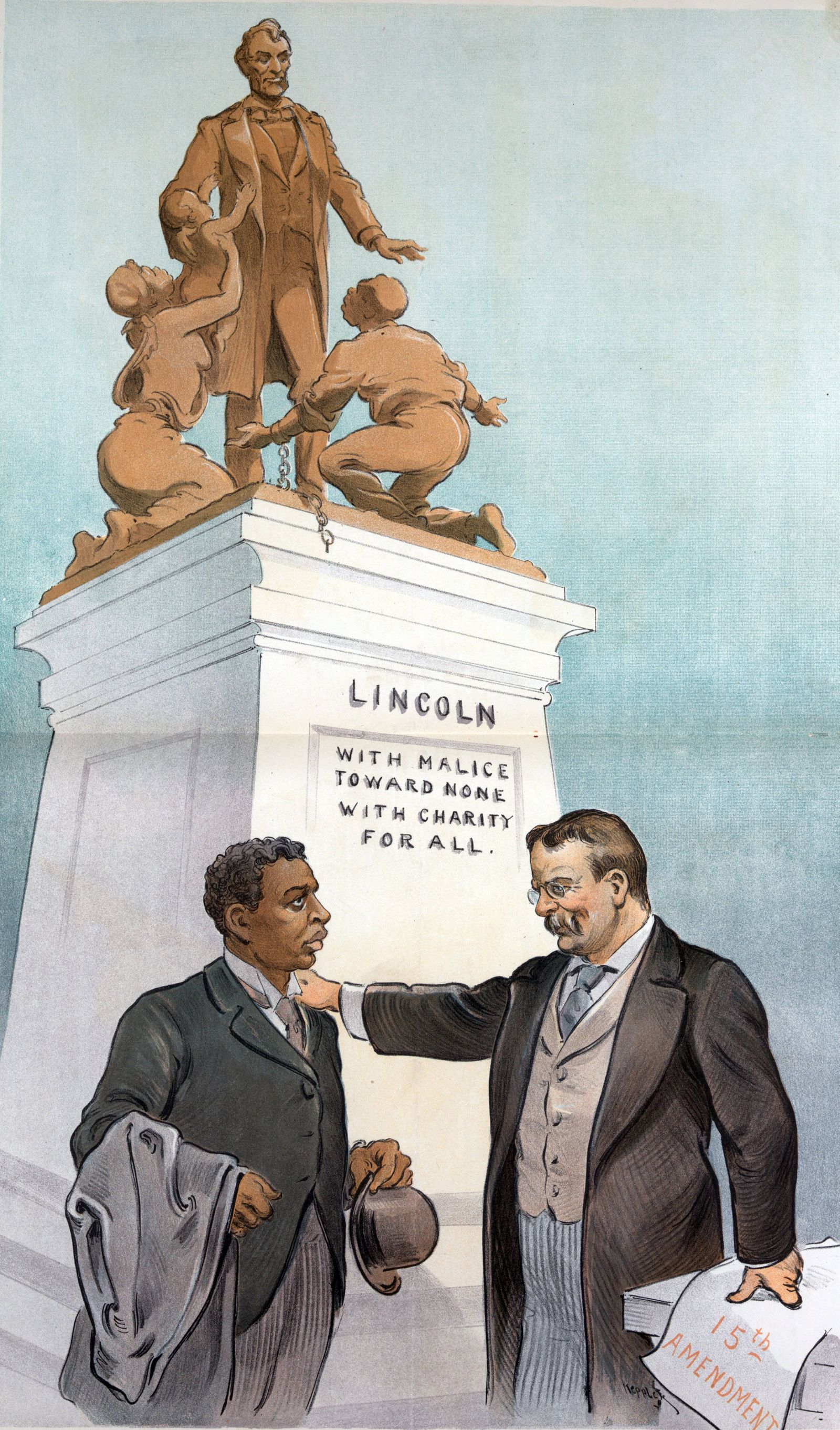Justice versus prejudice President Theodore Roosevelt standing with right hand on the left shoulder