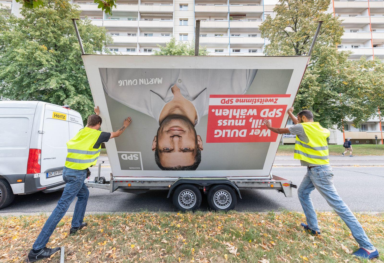 Abbau Wahlplakate/ Landtagswahl/ Sachsen