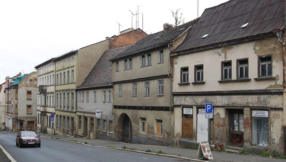 Verfallende Häuser in Zeitz, Sachsen-Anhalt (Aufnahme von 2014)