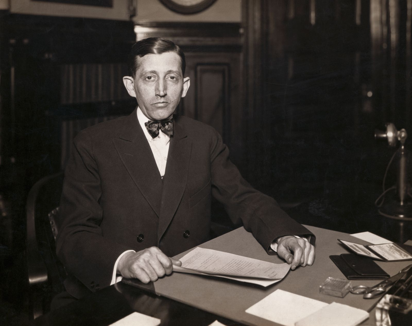 Will Hays Seated at Desk