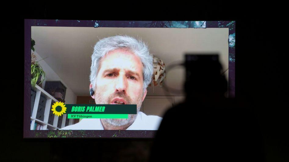 Boris Palmer beim Onlineparteitag der Grünen