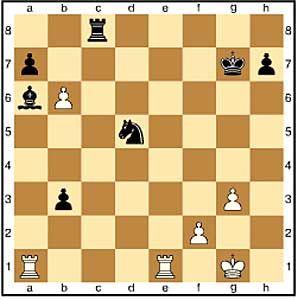 Zug 34, weiß: axb6. Noch ein letzter Versuch, der auch nichts mehr einbringt.