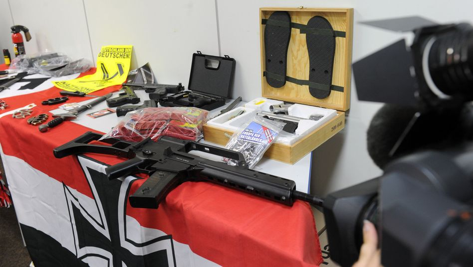 Weapons confiscated during a raid on a neo-Nazi group in western Germany last year.