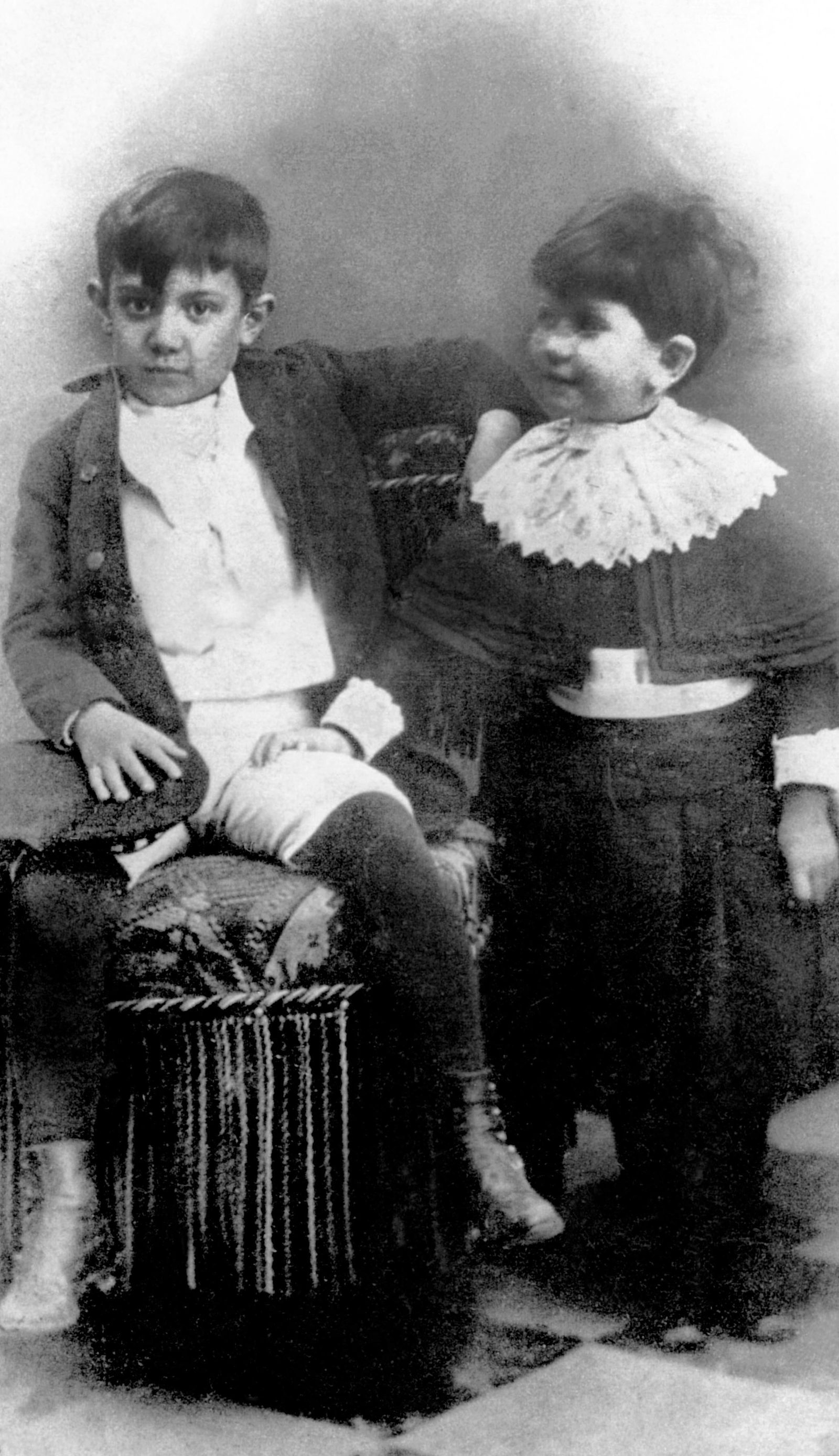 Pablo Picasso (1881-1973) here at the age of 7 years old and his sister Lola in Malaga in 1888