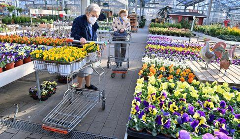 Kunden in einem wiedereröffneten Gartencenter in Bayern am Montag