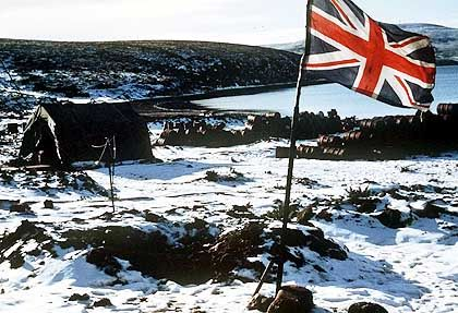 The British flag still flies over the Falkland Islands just like it did before the 1984 war.