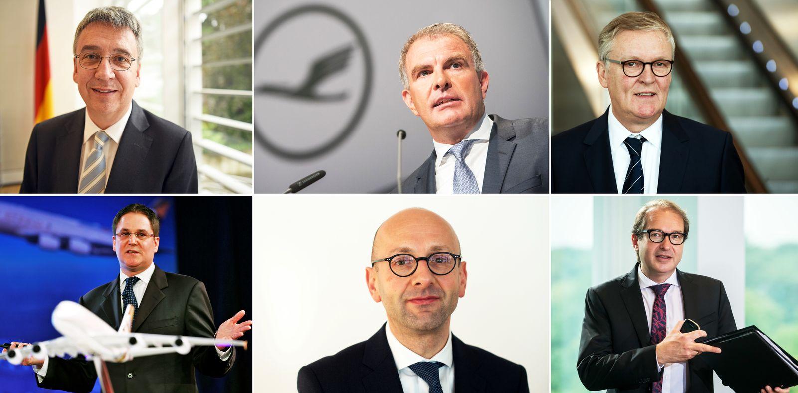 Carsten Spohr, Thomas Winkelmann, Peter Baumgartner, Alexander Dobrindt, Andreas Mundt, Lucas Flther. Kombo