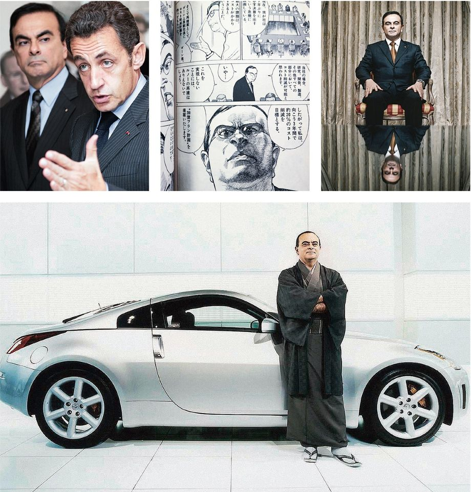The chairman and CEO: Ghosn with French President Nicolas Sarkozy in 2008 (top left); a superhero manga cartoon with Ghosn; a portrait for Fortune magazine in 2006; and one in front of a Nissan sports car in 2004 (bottom)