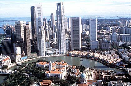 Ostasiatische Metropole: Die Skyline Singapurs