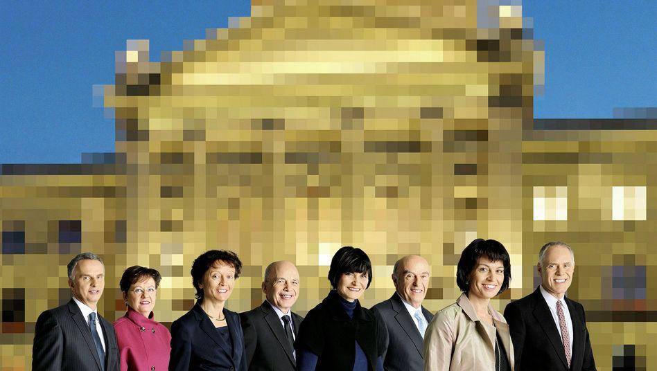The official photo of the Swiss Federal Council shows the seven federal councilors and the chancellor, Corina Casanova. From left: Didier Burkhalter, Corina Casanova, Eveline Widmer-Schlumpf, Ueli Maurer, Micheline Calmy-Rey, Hans-Rudolf Merz, Doris Leuthard, Bundesrat Moritz Leuenberger.