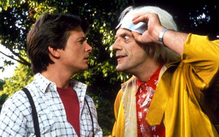 """Michael J. Fox und Christopher Lloyd in """"Zurück in die Zukunft"""" (1985)"""