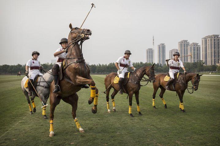 Reichensport Polo im chinesischen Tianjin