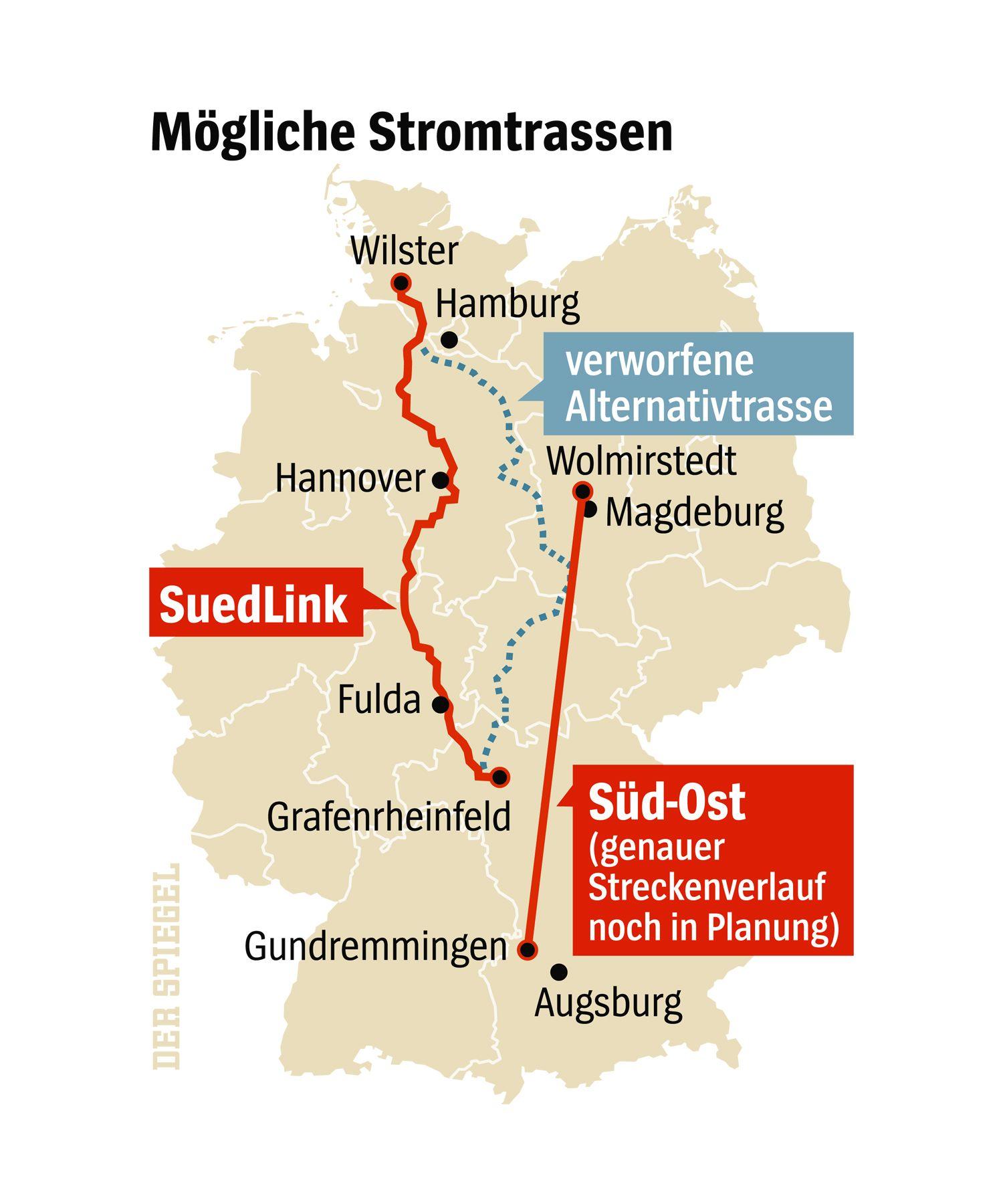Grafik Der SPIEGEL 872015 Seite 18 - Mögliche Stromtrassen