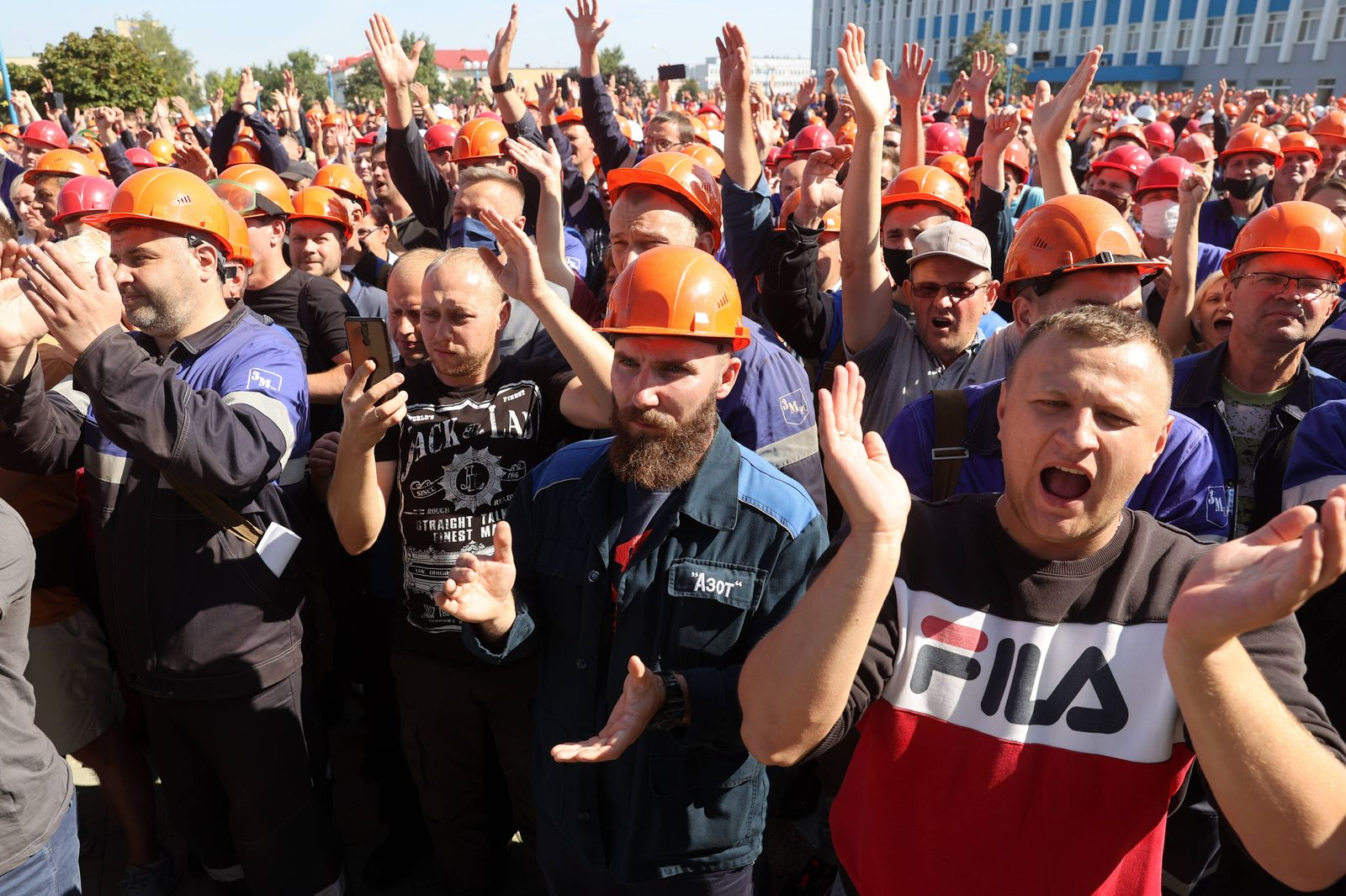 GRODNO, BELARUS - AUGUST 14, 2020: Workers stage a wildcat strike at the Grodno Azot chemical plant in support of prote