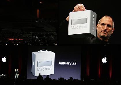 Kam nicht mit leeren Taschen: Apple-Chef Steve Jobs mit Mac mini