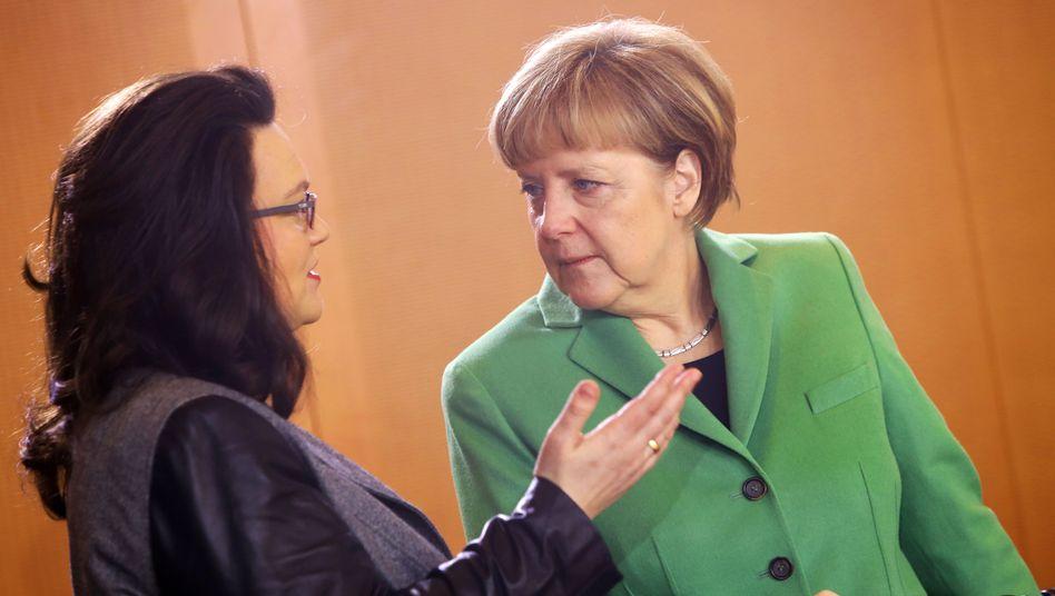 SPD-Fraktionschefin Andrea Nahles und Bundeskanzlerin Angela Merkel