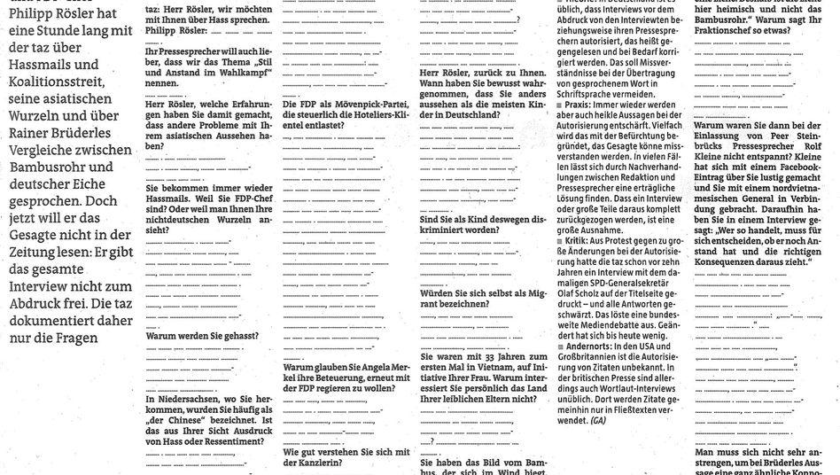 taz-Ausgabe ohne Antworten: Von der FDP-Pressestelle nicht genehmigt