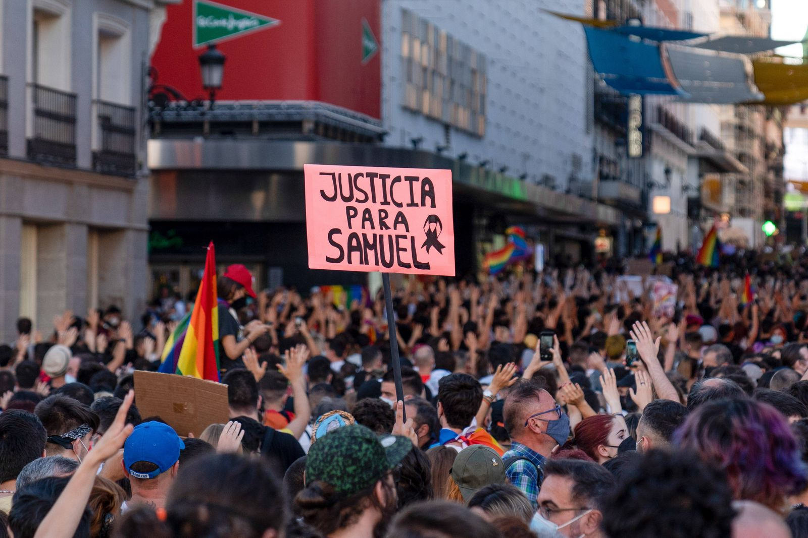 July 5, 2021, Madrid, Spain: A placard reading ¨Justice for Samuel¨ is raised during the demonstration. .A demonstrati