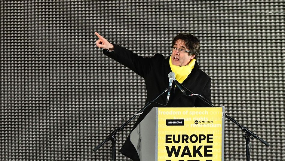Carles Puigdemont during a protest in Brussels in December
