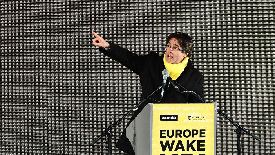 Puigdemont während einer Demonstration in Brüssel (Dezember 2017).