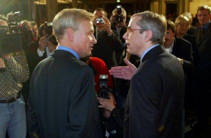 Ole von Beust (li.) und Thomas Mirow beim TV-Duell Anfang Februar: Hart in der Sache, aber fair