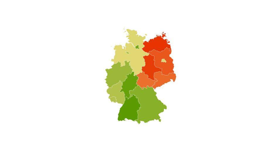 Tiefroter Nordosten: Der Gehaltsatlas zeigt das Verdienstgefälle in Deutschland