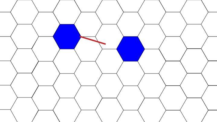 Streichholz (rot) ist doppelt so lang wie Sechseckseite