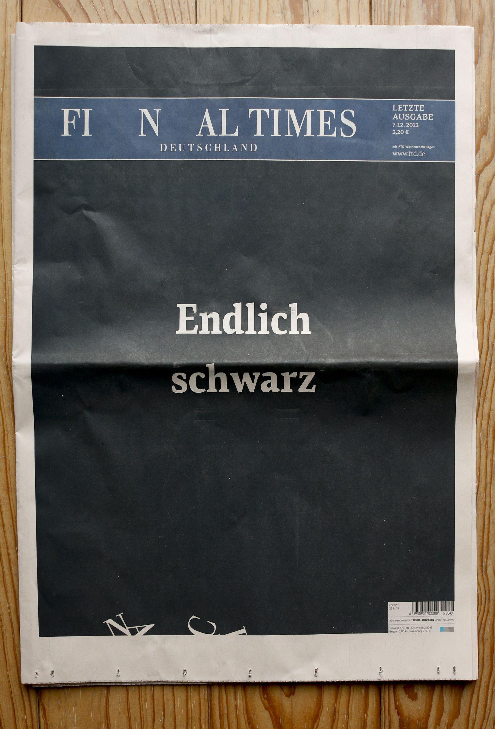 NICHT VERWENDEN FTD/ Medien/ Zeitungen/ Wirtschaft