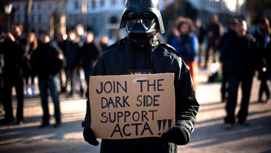 Protest gegen Acta in Slowenien (Februar 2012): Pakt kann nicht vor 2014 in Kraft treten